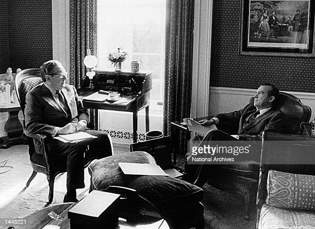 President Richard Nixon meets with Henry Kissinger May 13, 1973 in the Old Executive Office Building in Washington, D.C.