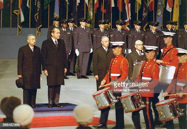 President Richard Nixon receives Japanese emperor Hirohito at Elmendorf Air Force Base Alaska 1971