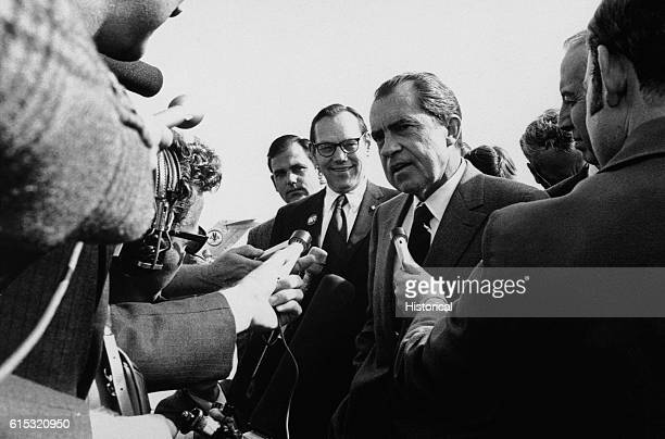 President Richard Nixon responds to reporters' questions while in Columbus Ohio