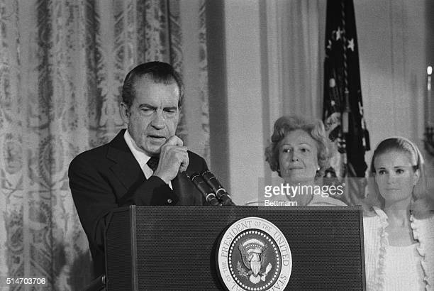 President Richard Nixon says an emotional farewell to his staff and cabinet in the East Room of the White House after resigning from office His wife...