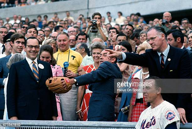President Richard Nixon set to throw out the ceremonial first pitch next to commissioner of baseball Bowie Kuhn prior to the start of Major League...
