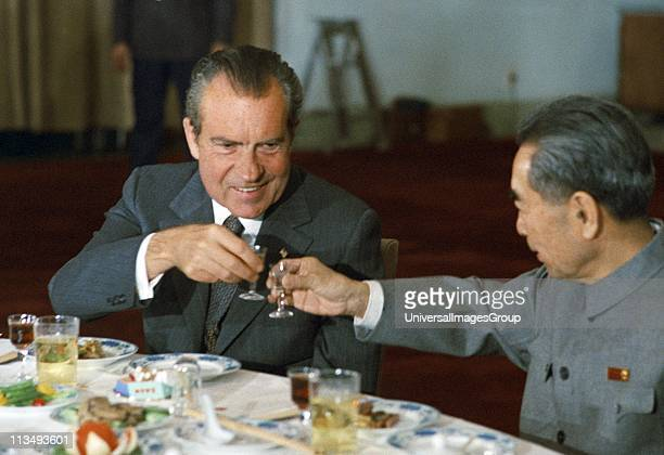 President Richard Nixon toasts Zhou Enlai the Chinese Prime Minister during a state banquet in Beijing in 1972
