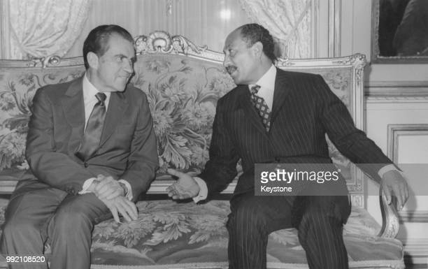 US President Richard Nixon with Egyptian President Anwar Sadat at the start of their talks at Tahra Palace in Cairo Egypt June 1974