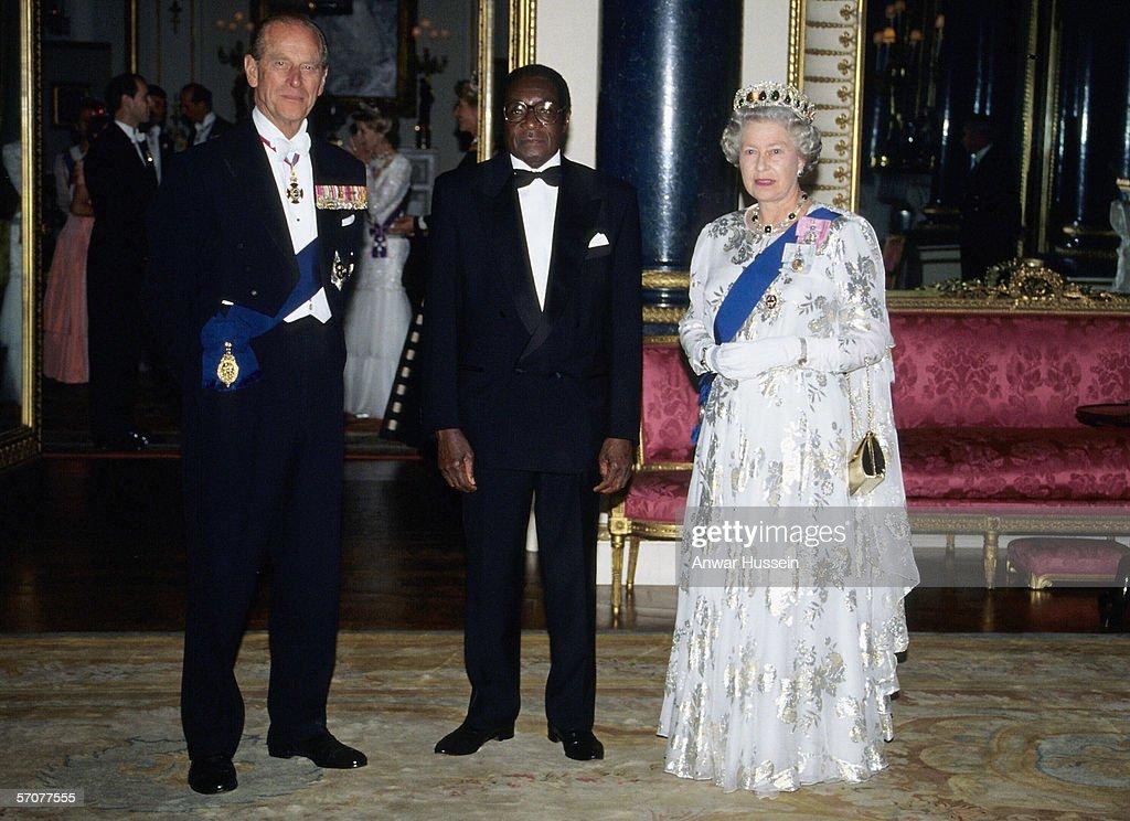 Robert Mugabe of Zimbabwe visit to the UK : News Photo
