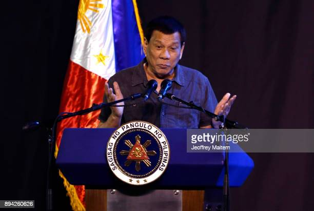 President Rodrigo Roa Duterte speaks at the 39th birthday party of Boxer Manny Pacquiao at KCC convention center on December 17 2017 in General...