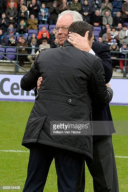 President Roger Vanden Stock of RSC Anderlecht and Head coach Besnik Hasi of RSC Anderlecht during the Jupiler Pro League match between RSC...