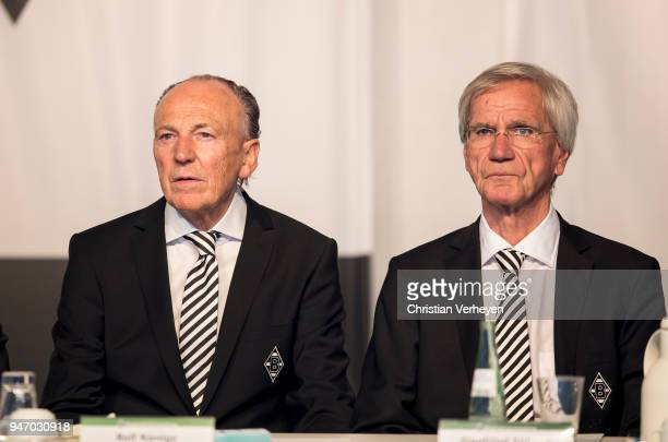 President Rolf Koenigs and Vice President Siegfried Soellner of Borussia Moenchengladbach during the Annual Meeting of Borussia Moenchengladbach at...