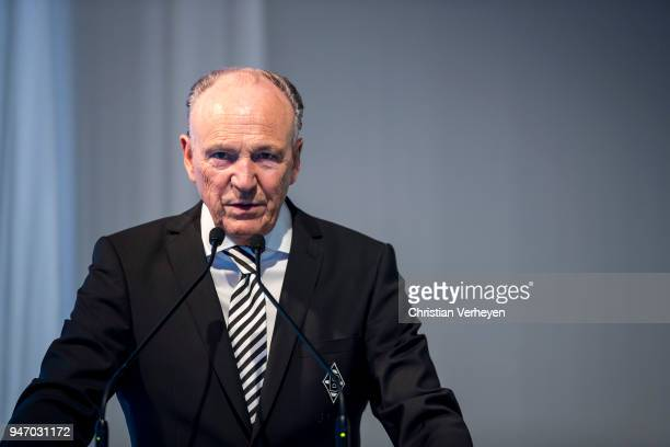President Rolf Koenigs of Borussia Moenchengladbach talks during the Annual Meeting of Borussia Moenchengladbach at BorussiaPark on April 16 2018 in...