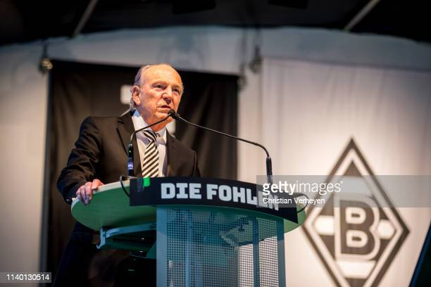 President Rolf Koenigs of Borussia Moenchengladbach talks to the members during the general assembly at Borussia-Park on April 29, 2019 in...