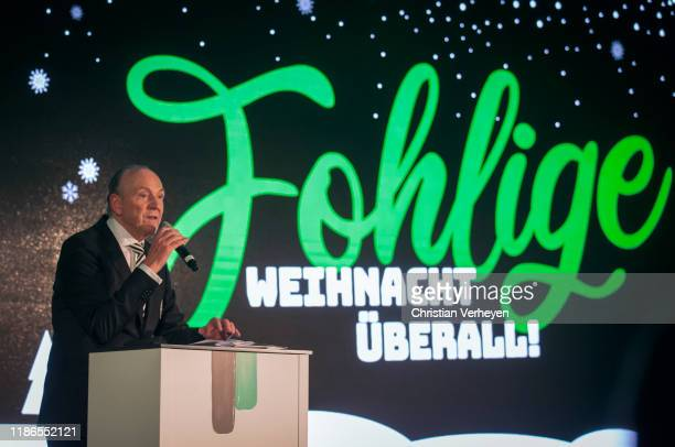 President Rolf Koenigs of Borussia Moenchengladbach talks to the guests during the Borussia Moenchengladbach Christmas Party at Borussia-Park on...