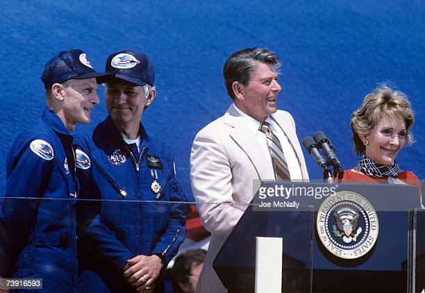 President Ronald Reagan addresses a crowd gathered to celebrate the successful mission of the STS4 on July 4 1982 at Edwards Airforce Base California