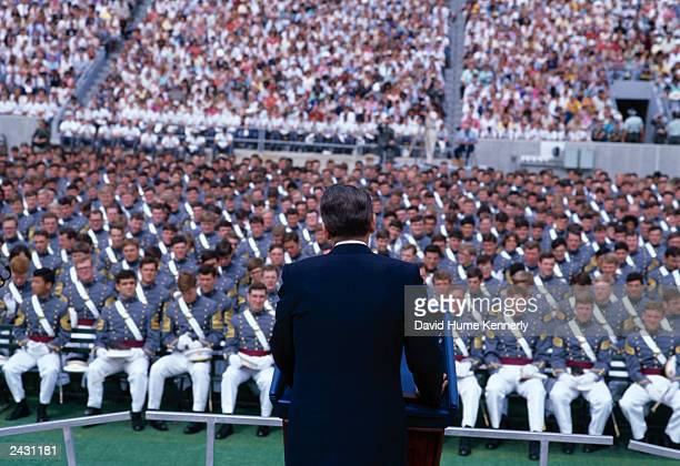 US President Ronald Reagan addresses West Point military academy graduates May 27 1981 in West Point NY