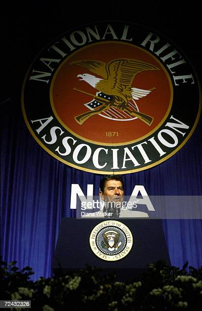 President Ronald Reagan addressing the National Riffle Association