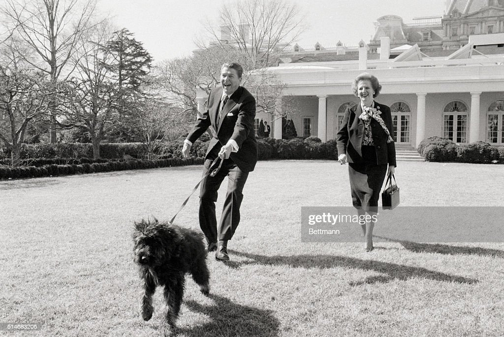 President Ronald Reagan and British Prime Minister Margaret Thatcher walk Reagan's dog Lucky on the White House lawn.