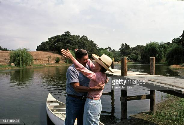 President Ronald Reagan and First Lady Nancy Reagan are photographed in 1983 at Rancho del Cielo in California