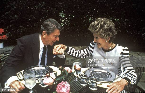 President Ronald Reagan and First Lady Nancy Reagan are photographed in 1986 in the Rose Garden at the White House in Washington DC