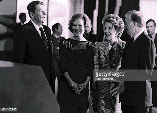 President Ronald Reagan and First Lady Nancy Reagan join Former President Jimmy Carter and Former First Lady Rosalynn Carter at the Carter Center...