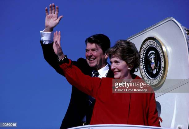 President Ronald Reagan and First Lady Nancy Reagan wave December 1981 from the steps of Air Force One the presidential aircraft Born the son of a...