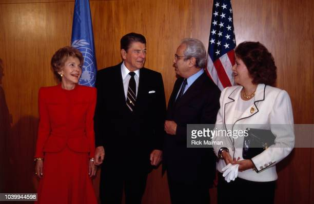 President Ronald Reagan and First Lady Nancy with Peruvian diplomat and United Nations Secretary General Javier Perez de Cuellar and his wife Marcela...