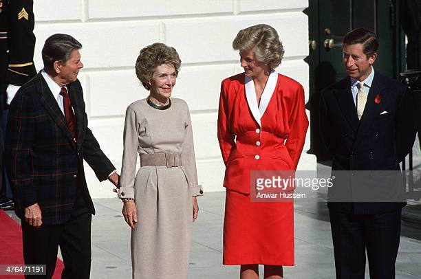 President Ronald Reagan and Nancy Reagan greet Prince Charles Prince of Wales and Diana Princess of Wales at The White House on November 09 1985 in...