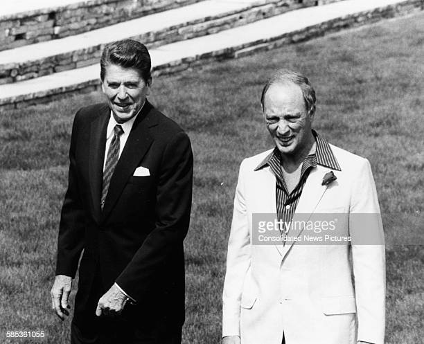 President Ronald Reagan and Pierre Trudeau Canadian Prime Minister walking together a a two day economic summit in Ottowa July 20th 1981