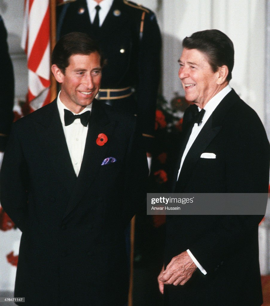 President Ronald Reagan and Prince Charles, Prince of Wales attend a banquet at The White House on November 09, 1985 in Washington, USA.