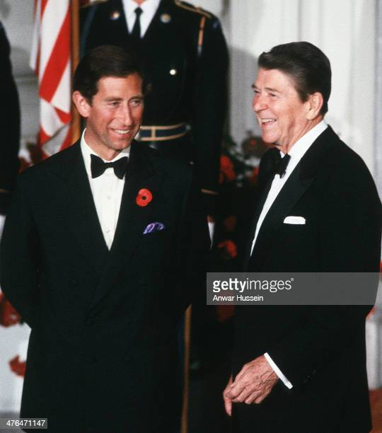 President Ronald Reagan and Prince Charles Prince of Wales attend a banquet at The White House on November 09 1985 in Washington USA
