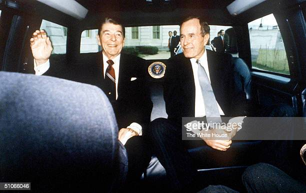 President Ronald Reagan And Vice President George Bush On Reagan's Last Day As President Washington Dc January 20 1989