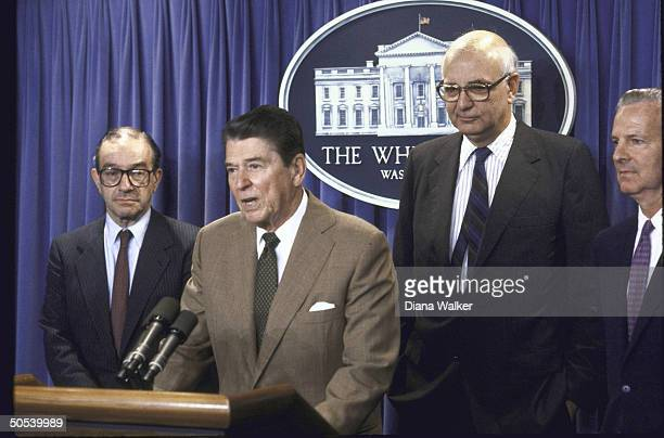 President Ronald Reagan announcing Alan Greenspan as Federal Reserve Board Chairman replacement for Paul Volcker as Secretary of Treasury James Baker...