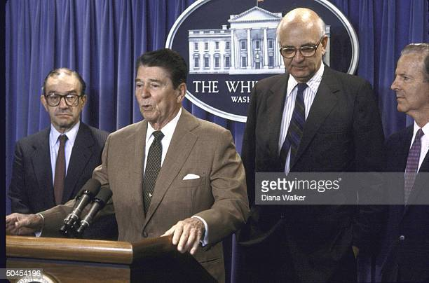 President Ronald Reagan announcing that Federal Reserve Board Chairman appointee Alan Greenspan would replace outgoing Chairman Paul A Volcker at a...