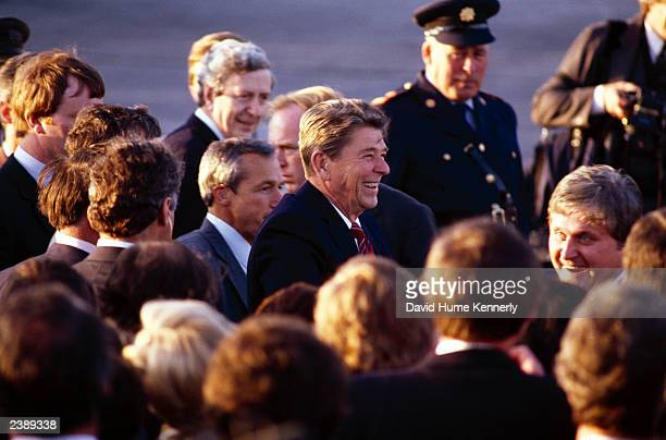 US President Ronald Reagan arrives at the Shannon Airport June 1 1984 in Shannon Ireland Reagan will meet with Irish President Hillery and Prime...