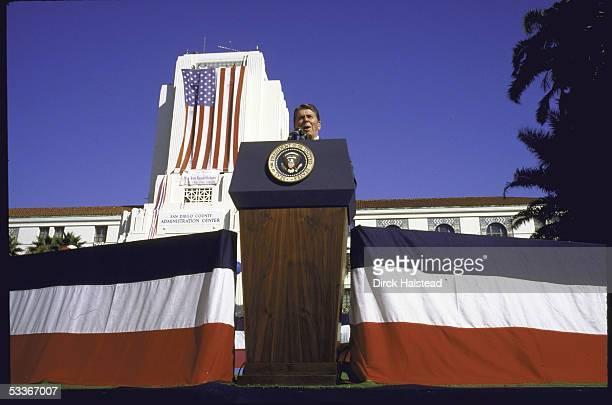 President Ronald Reagan at a campaign rally