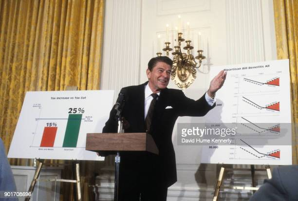 President Ronald Reagan at the White House delivering his tax plan, Washington, DC, July 1983.