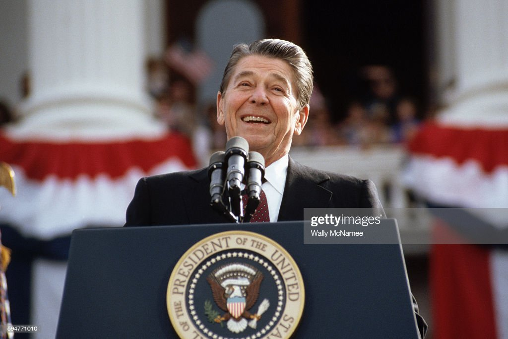 President Ronald Reagan, campaigning for a second term of office, smiles during a rally speech at the California State Capitol the day before the 1984 presidential election.