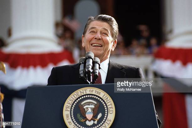 President Ronald Reagan campaigning for a second term of office smiles during a rally speech at the California State Capitol the day before the 1984...