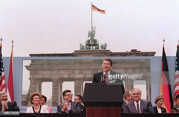 US President Ronald Reagan commemorating the 750th anniversary of Berlin addresses on June 12 1987 the people of West Berlin at the base of the...
