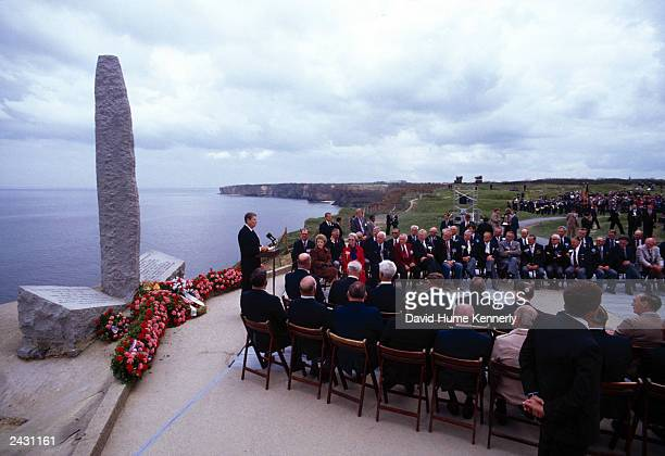 US President Ronald Reagan gives one of two speeches commemorating the 40th Anniversary of the DDay Invasion 1944 at the site of the US Ranger...