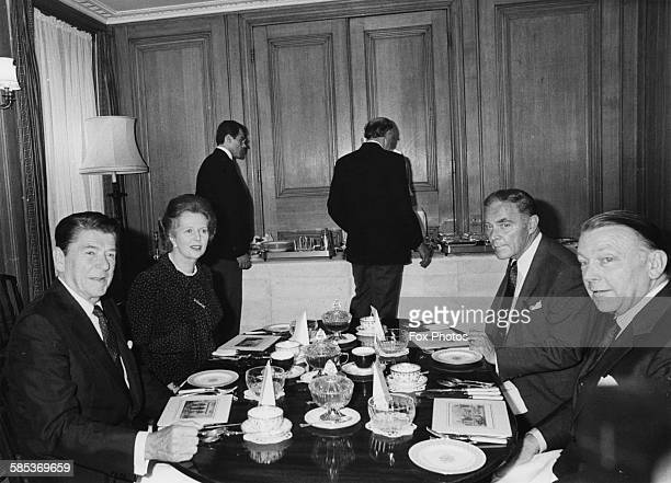 President Ronald Reagan having dinner with British Prime Minister Margaret Thatcher US Secretary of State Alexander Haig and British Foreign...