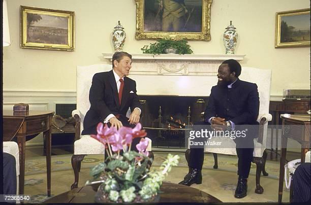 President Ronald Reagan meeting with Angolan rebel leader Jonas Savimbi