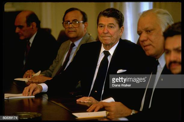 President Ronald Reagan meeting with Nicaraguan Contra leaders Arturo Cruz Adolfo Calero and Alfonso Robelo