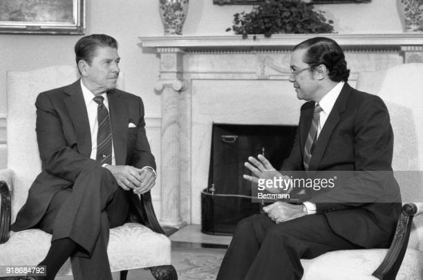 President Ronald Reagan meets with presidentElect Nicholas Ardito Barletta of Panama in the Oval Office