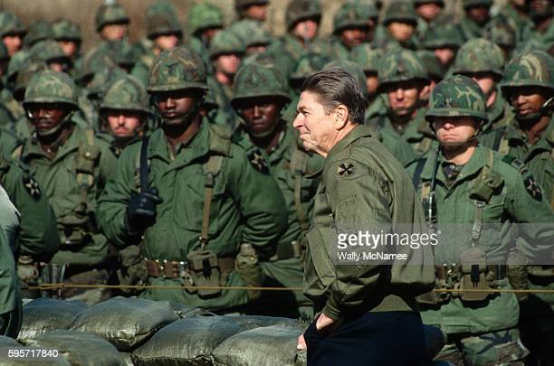 President Ronald Reagan prepares to speak to US Army troops of the 2nd Infantry stationed at Camp Bonifas near the Demilitarized Zone just south of...