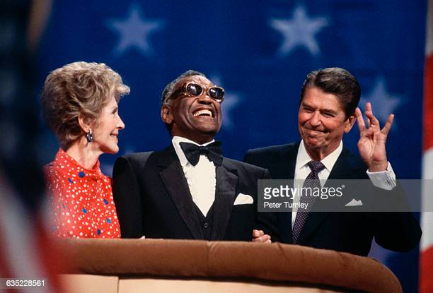 US President Ronald Reagan shares the podium at the Republican National Convention where he is campaigning for a second term as President with his...