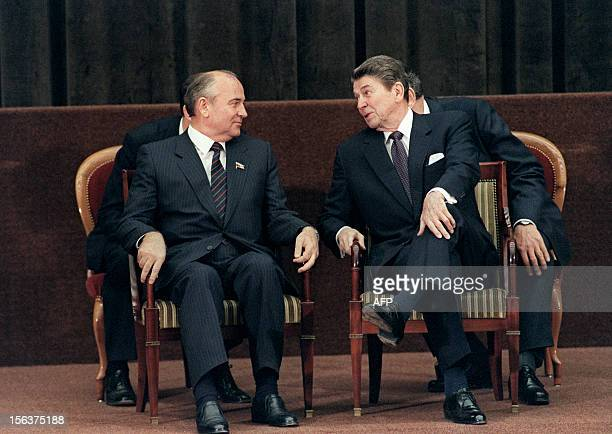 US President Ronald Reagan shown in a photo dated 21 November 1985 talking to Soviet general secretary of the Communist Party of the Soviet Union...