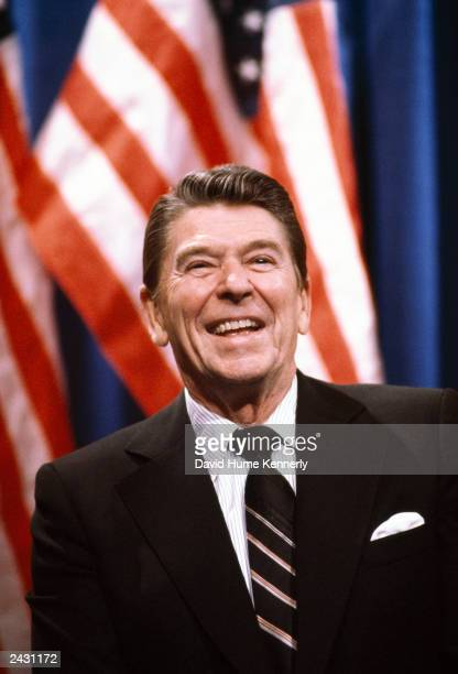 US President Ronald Reagan smiles at an event in 1983 in Washington DC