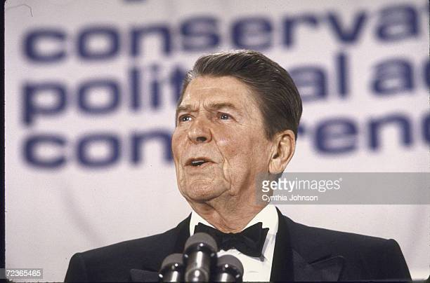 President Ronald Reagan speaking at CPAC conference