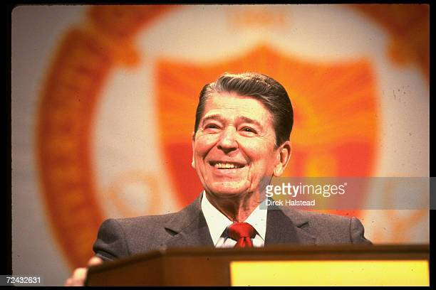 President Ronald Reagan speaking on 78th birthday during which University of Calif students presented him with a cake