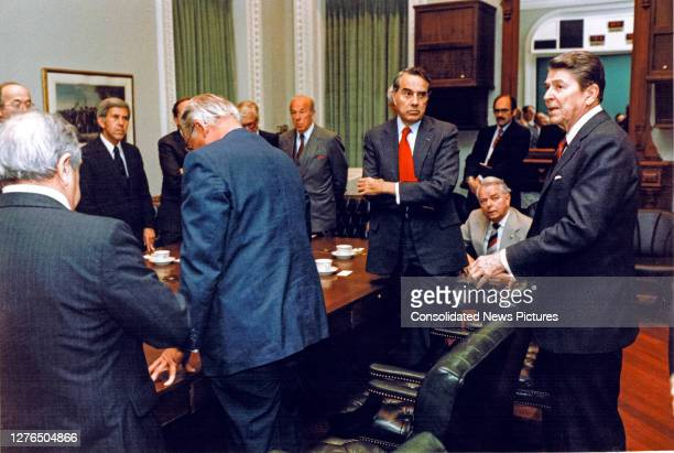 President Ronald Reagan speaks at the conclusion of afternoon meeting with House and Senate leaders in the Old Executive Office Building, Washington...