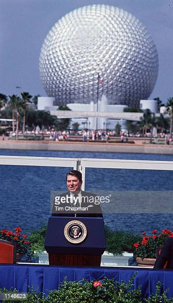 President Ronald Reagan speaks at the opening of Disney World's Epcot Center in Orlando Florida March 3rd 1983