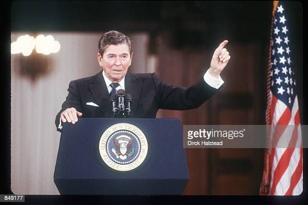 President Ronald Reagan speaks at the Spaso House May 30, 1988 in Moscow, USSR. Spaso House has been the residence of American ambassadors in Moscow...